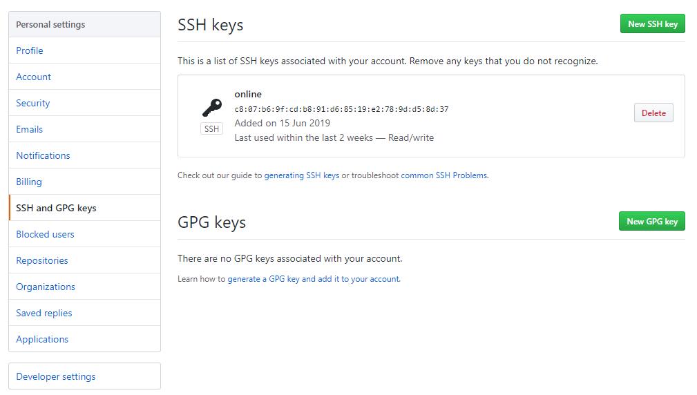添加SSH key